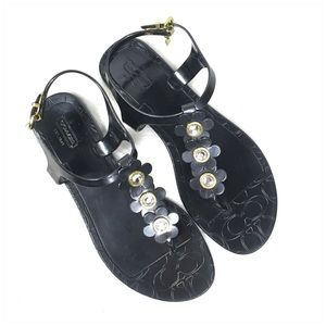Coach Shoes - Coach Black Paisley Thong Floral Flat Sandal